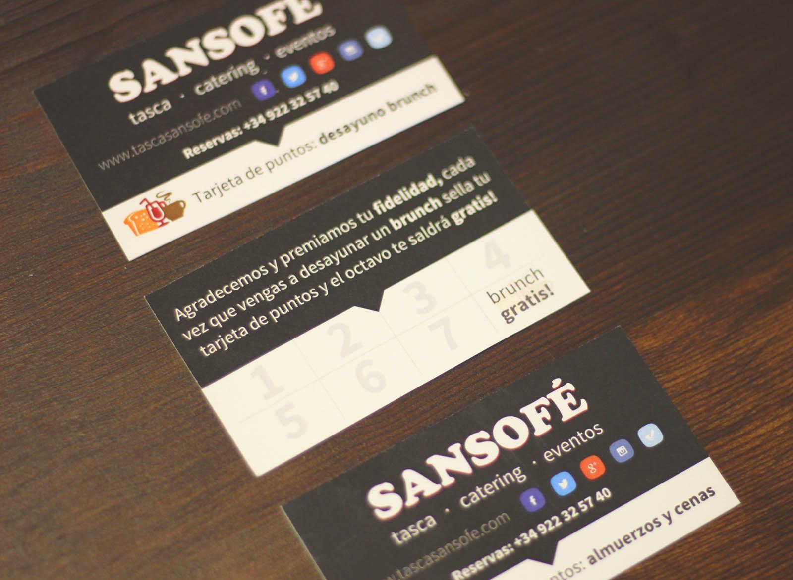 Tasca Sansofé tarjetas de fidelización para comer