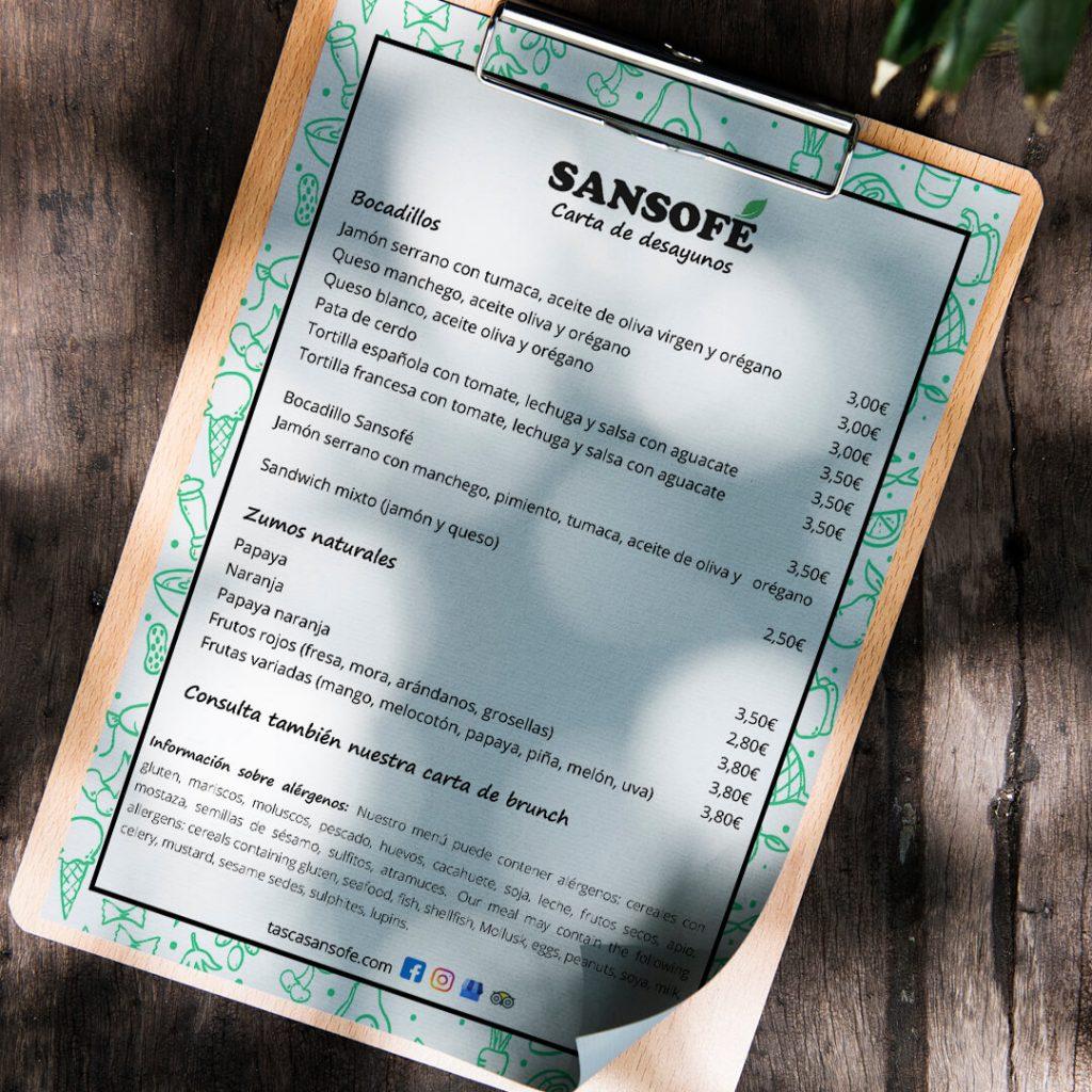 Carta de desayunos de Tasca Sansofé 1_1